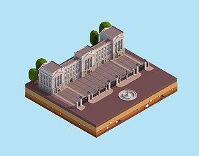Cartoon Low Poly Buckingham Palace 3D asset