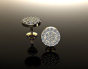 Round Stud Cluster Diamond Earring 3D printable model
