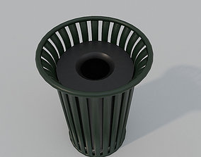 Low Poly PBR Trash Can 3D asset low-poly
