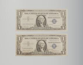 Silver certificate American dollar bills 3D asset