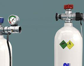 3D model oxygen bottle 2x
