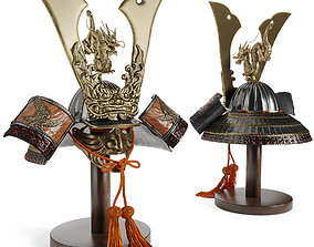 3D asset Japanese Fabulous Samurai Helmet Dragon with a