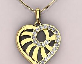 spiral-ling heart pattern pendent 3D print model