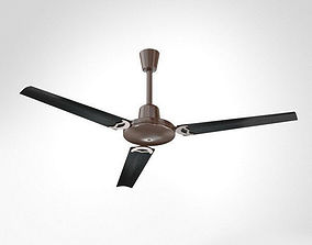 Metallic Ceiling Fan with Wooden Blades 3D