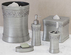3D Murano Brushed Silver Bath Accessories