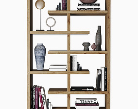 3D bookshelves with books