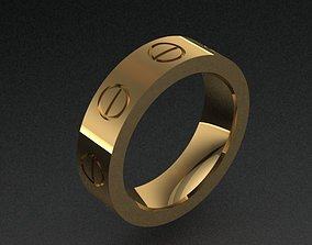 Cartier Style Golden Band Ring With 8 3D print model 2