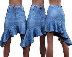 Ruffle Jeans Skirt 3D model