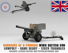 3D model Low Poly Ordnance QF 6-pounder