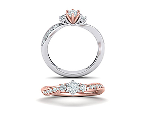 unique-ring Own Design Three Stone Engagement ring 3dmodel