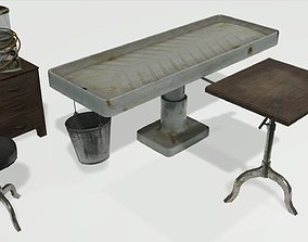 Low Poly Vintage Mortuary Items 3D asset