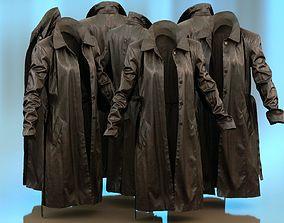 Long Black Leather Underworld Coat Open 3D model
