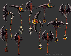 3DRT - fantasy arms Axes low-poly
