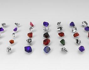 Emerald Gem Crystal Garnet Jewel Stone Pack 35 3D model