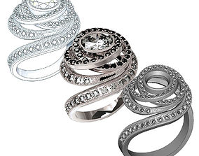 a Double Halo Design Ring 3D print model