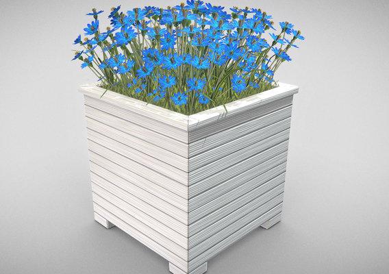 Public Plant Pot Wood-Version with Blue Flowers