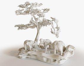 Elephants Play 3D model PBR
