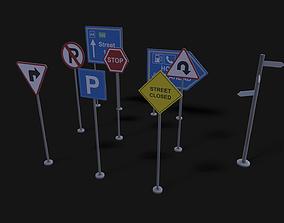 3D asset Street Signboard Pack