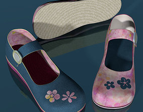 3D asset Doll shoes denim printed low poly