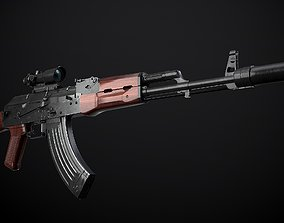 AK-47 rifle with attachments 3D model