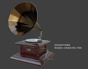 3D model animated Gramophone Phonograph