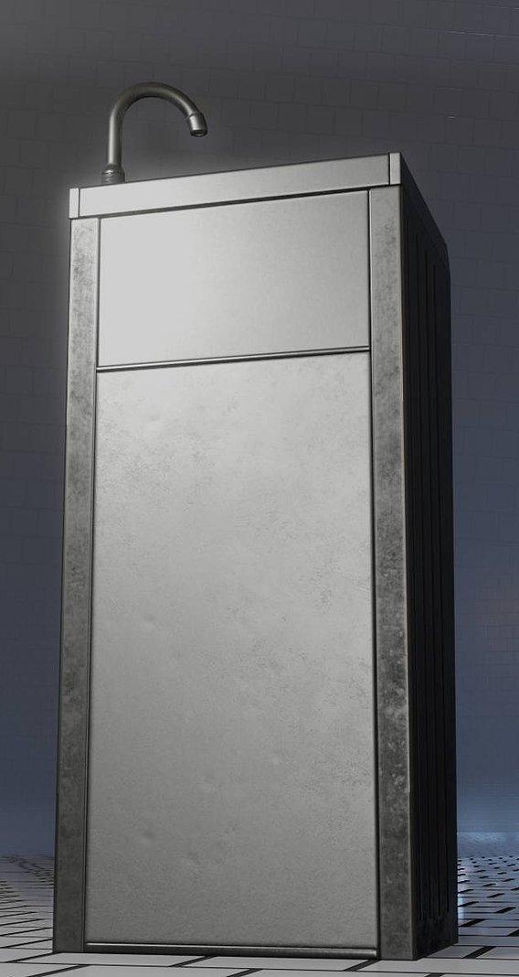 Public Metal Sink - 17 - Low-Poly (Blender-2.92 Eevee)