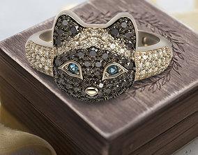 3D printable model Siamese kitten ring