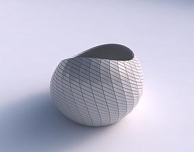 3D print model Bowl skewed with diagonal grid plates