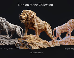 3D model Lion standing on a stone Collection