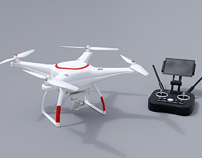 White drone with remote control 3D asset VR / AR ready
