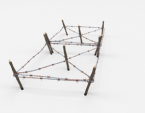 3D asset game-ready Low Poly Barb Wire Obstacle