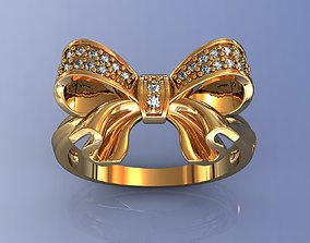 3D printable model Diamond Bow Ring for Woman