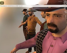 rigged Cowboy Low Poly GameREADY Unity3D