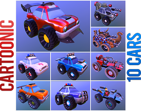 Cartoonic cars pack 3D asset