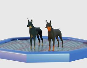 VR / AR ready 2 Low Poly Dog 3d Models