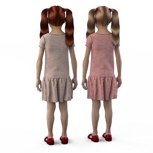 girl-dress-t-shirt-skirt-baby-clothes-3d