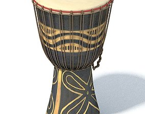 African Style Black And Tan Drum 3D model