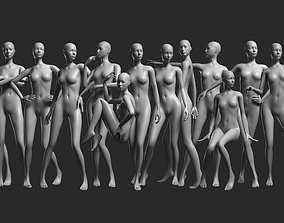 3D asset Animated Female Mesh - 14 poses