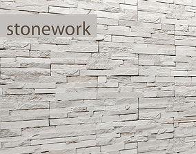 3D model Stone wall slate bricks