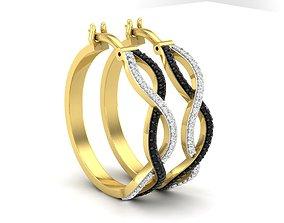 silver Diamond earrings for woman 3D print model