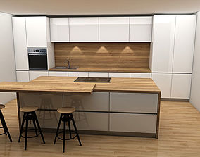 kitchen with island 3d model low-poly