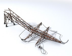 Wrecked high tension power lines stand 3D asset