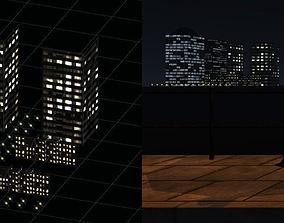 3D asset VR / AR ready Skyline - City at Night