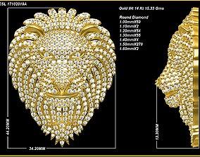 3D print model round Lion Pendant