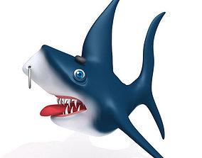 3D asset Shark cartoon 02