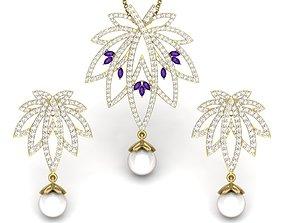 Women pearl pendant-earrings set 2
