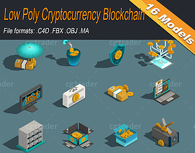 Low Poly Cryptocurrency Blockchain Isometric Pack 3D model