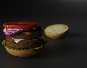 Double cheesburger with salad tomato onion and 3D asset
