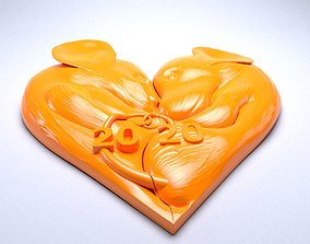 3D printable model Pendant mouse in a heart