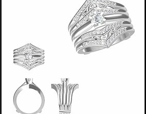 Wedding band rings for women rhino 3d jewelry